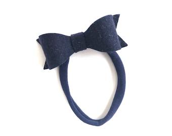 Navy blue baby headband - nylon headband, baby girl headband, baby headband bows, newborn headband, baby bows, baby hair bows, baby girl