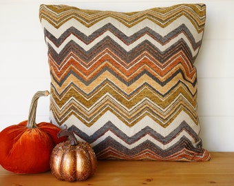 Chevron Stripes Gold Rust Grey Pillow Cover, Soft Thanksgiving Cushion,  High-End Pillows