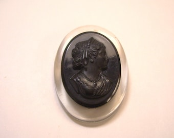 Vintage Lucite Cameo Mourning Brooch Pin with C Catch  2.375 Inches Tall