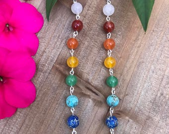Chakra Shoulder Dusters || Chakra Dangle Earrings || Rainbow Earrings