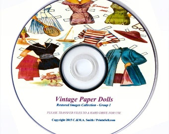 VINTAGE PAPER DOLLS - Scanned / Restored Rare Printable Sheets - 2x Combined Volumes, Disc 1