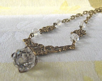 Victorian Style Antiqued Brass Necklace With Vintage Crystals / Brass Filigree / Crystal Drop Necklace / Wedding Necklace / Bridal Jewelry