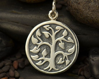 Sterling Silver Etched Tree of Life Charm-Family-Friends-Wedding-Showers