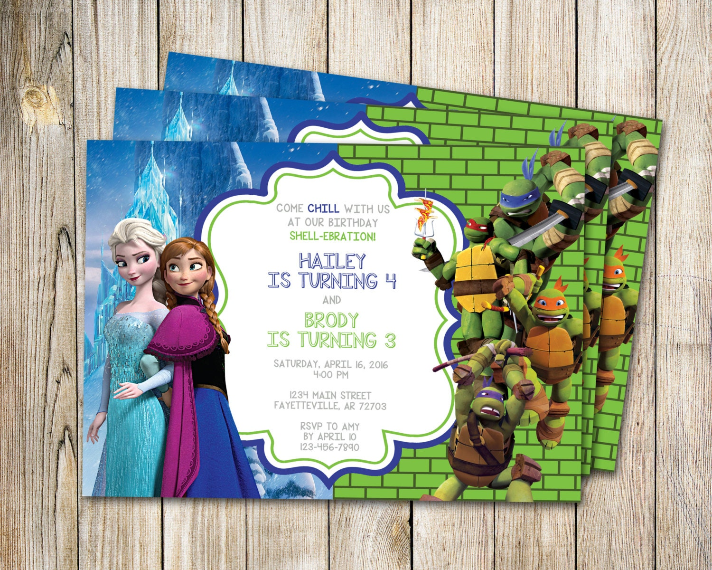 Birthday Invitation Frozen and Ninja Turtles Birthday