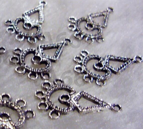 Diy Teardrop Silver Lace Chandelier Earrings Parts 12pcs 17mm