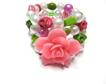 Day of the Dead Bracelet Sugar Skull Wrap Jewelry Pink White Green