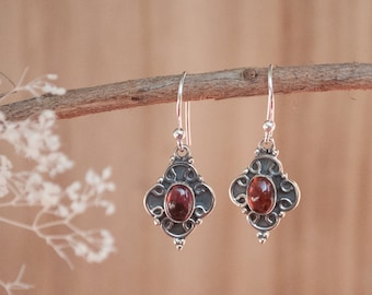 Garnet Earrings * Sterling Silver 925 * Oxidized * Dangle * Gemstone * Lightweight * Statement * Jewelry * Bycila *January Birthstone BJE031