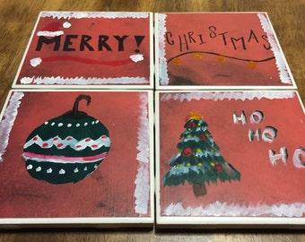 Hand Painted Ceramic Christmas Coasters