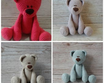 Made to Order Bear, Custom Order Teddy Bear, Crochet Bear, Single Colour Teddy Bear, Baby Gift, Birthday, Christmas