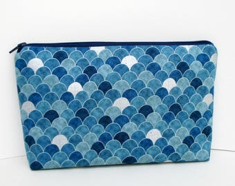 Zippered Make Up Bag, Cosmetic Pouch, Mermaid Scales, Teal Blue Scallops with Silver Metallic