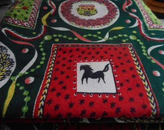 Vintage 1950's Barkcloth Era Kitsch Yellow, Black, Red, Bright Green, Forest Green Horses, Rooster, Castle Heavy Cotton Fabric, 8 yards