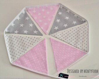 Bunting Garland Fabric Flags Pennants : Pink, White, Gray
