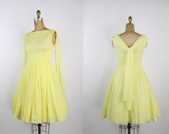 50s Light Yellow Cocktail Dress / 1950s Dress / Party Dress / Wedding / Size XS/S