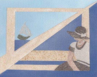 Natural sand painting 18x24 cm Lady and boat 2