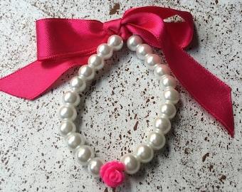 Childrens pearl bracelet Flower aqua blue bracelet flower