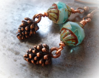 Pine Cone Earrings, long woodland nature inspired dangle earrings, ice blue glass bead, pinecone tree antiqued copper handmade jewelry