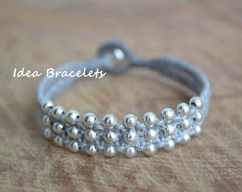 Gray Friendship Silver Beaded Double Layers Bracelet