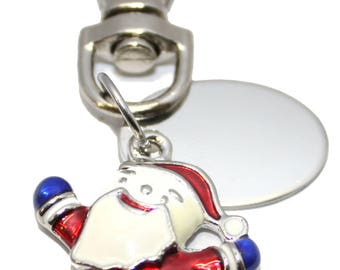 Engraved personalised happy jumping Santa Christmas Claus charm keyring pouch LT25