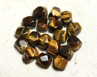 2PC - stone Tiger eye beads - faceted Nuggets 12-13mm 4558550032591