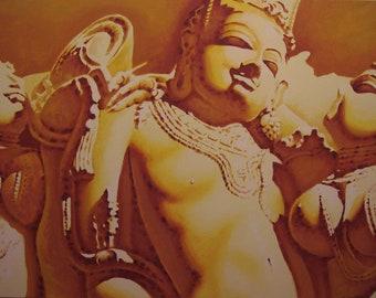 An original painting entitled Khajuraho Temple