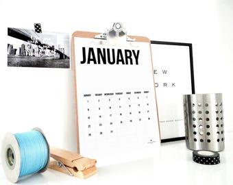 Simple 2018 Printable Calendar, Monthly Calendar, Minimal Calendar, Planner, Back to School, Student Gift, Office Art, PDF, Instant Download