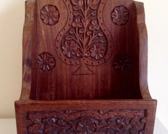 Vintage Hand Crafted Wooden Wall Unit. Measures