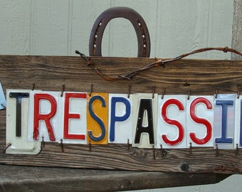 No Trespassing License Plate Barnwood Sign,Warning Sign,Private Property,Security Sign,Rustic Sign,Home Security