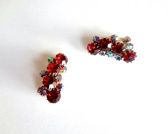 1950s KRAMER Rhinestone Earrings.  vintage costume jewelry.  mid-century cocktail party accessory