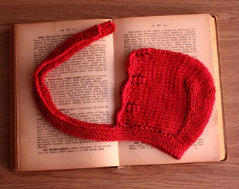 knit baby bonnet, girls bonnet, red bonnet, red baby hat, bamboo bonnet, newborn bonnet, toddler bonnet, nb 0-3 3-6 6-12 12-24 summer hat