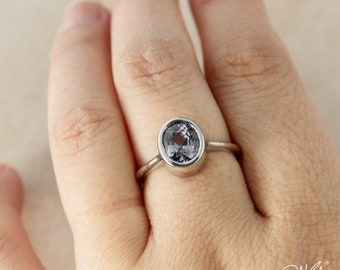 Smokey Grey and Violet Blue Spinel Ring - Bezel Set - Oval Spinel Ring - 925 Sterling Silver