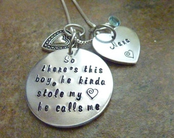 Mother's Day So there's this boy, he kinda stole my heart he calls me Nana Necklace Personalized Necklace Grandma Mother Aunt Necklace