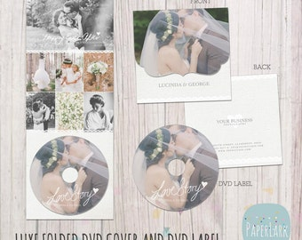 Wedding Luxe dvd Case and Label - Photoshop Template -DW003- INSTANT DOWNLOAD