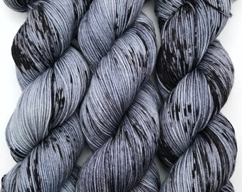 "Hand Dyed Yarn ""Selkie"" Grey Gunmetal Black Speckled Merino Nylon Fine Fingering Sock Superwash 463yds 100g"