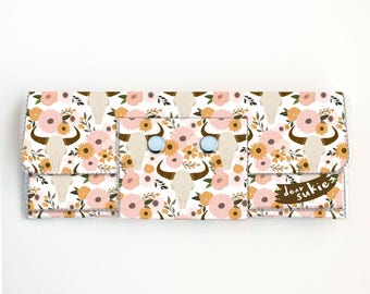 Vinyl Long Wallet - Fall Floral1 / vegan, large wallet, clutch, card case, vinyl wallet, handmade, floral, skull, flowers, fall, autumn