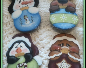 Christmas Ornaments, pattern packet, e-pattern, snowman, moose, gingerbread, penguin, tree ornaments, instant download