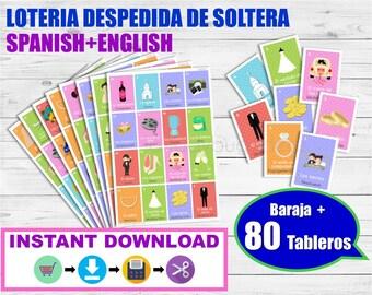 Juego despedida de soltera. Lotería Despedida de soltera Inglés-Español para imprimir. Archivo PDF. Printable Spanish Bingo Bridal Shower.