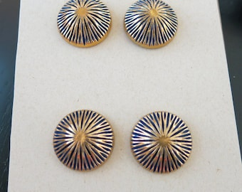 Vintage Buttons 4 Large Dome Brass Over Cobalt Blue Coat Buttons 1 1/8 Inch Diameter 10
