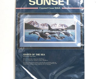 "Sunset Counted Cross Stitch Kit 13636/ 1997 ""Giants of the Sea"" Orca Whale Dolphins/ Unopened"