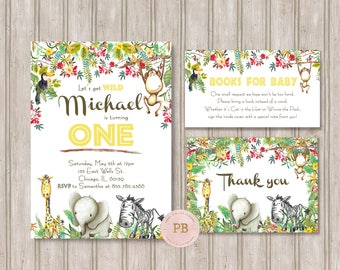 Jungle Safari Invitation, Safari Birthday Invitation, Elephant Invitation, Jungle Birthday, Safari Birthday, Safari Party, First Birthday