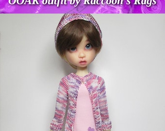 """OOAK  handmade set for Kaye Wiggs dolls.  """"Sugar Almond"""" outfit.  Fits  TOBI body only.   Dress, stockings, cardigan, hat."""