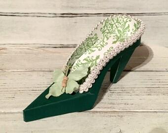 Paper Shoe Keepsake, Green Damask Butterfly High Heel Paper Keepsake Shoe, Art Sculpture, Decoration, Original Design