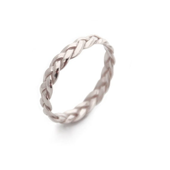 Twisted Wedding Band White Gold Ring Braided Thin Women