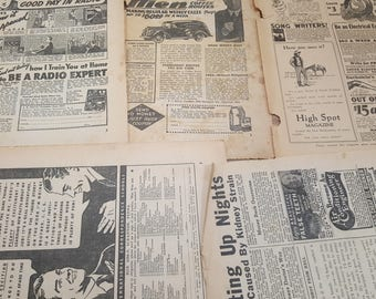 1930s Vintage Magazine Ads, 5 Sheets,  READ DESCRIPTIONS, vintage ephemera
