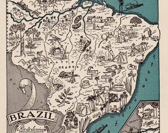 1940s BRAZIL Picture Map Pictorial Map of Brazil Print Travel Map Gallery Wall Art Gift for Boyfriend Birthday Gift