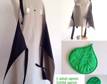 Father and son totoro apron, 2 totoro aprons and leaf pot holder, totoro clothing, dad and son apron, embroidery totoro apron, made in spain