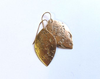 Hammered brass leaf earrings Antiqued gold everyday dangles Rustic boho jewelry Lightweight gold wire earrings