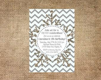 Frozen Birthday Invitation, Snowflake and Chevron