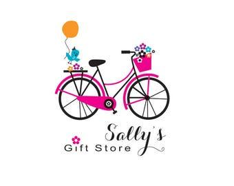 Bicycle logo, rustic bike logo, pretty bike logo, feminine bike logo, bike logo, logo design, graphics, instant logo, bike and flowers logo.