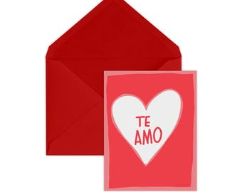 Valentine's Day Card | Te Amo | Love | Spanish Card | Friendship | For Wife | For Husband | Galentine's Day | Valentine Day | A2 Size