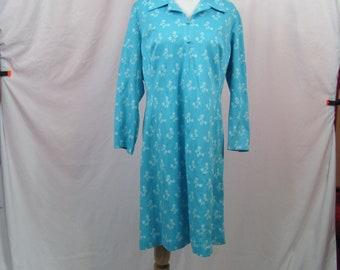 Vintage Retro 70s Womens Blue Floral Dress